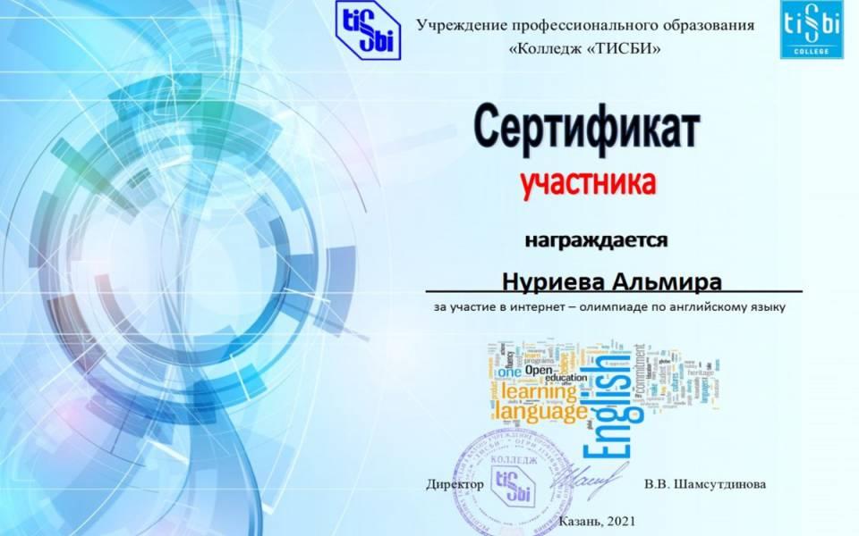 Сертификат участника олимпиады ТИСБИ